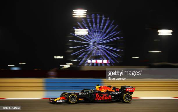 Sergio Perez of Mexico driving the Red Bull Racing RB16B Honda on track during practice ahead of the F1 Grand Prix of Bahrain at Bahrain...