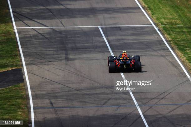 Sergio Perez of Mexico driving the Red Bull Racing RB16B Honda on track during final practice ahead of the F1 Grand Prix of Emilia Romagna at...