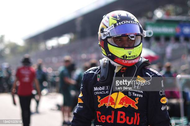 Sergio Perez of Mexico driving the Red Bull Racing RB16B Honda prepares to drive on the grid during the F1 Grand Prix of Italy at Autodromo di Monza...