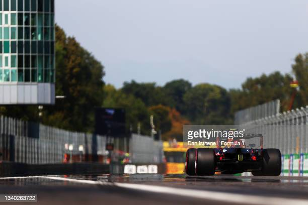 Sergio Perez of Mexico driving the Red Bull Racing RB16B Honda to the grid before the F1 Grand Prix of Italy at Autodromo di Monza on September 12,...