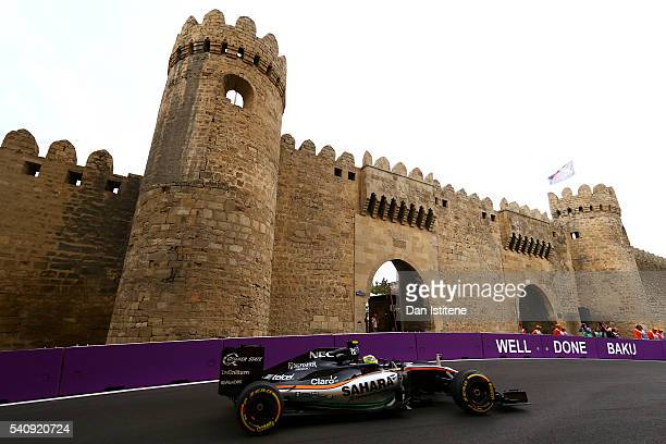 Sergio Perez of Mexico driving the Sahara Force India F1 Team VJM09 Mercedes PU106C Hybrid turbo on track during practice for the European Formula...