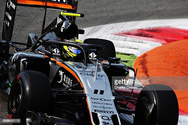 Sergio Perez of Mexico driving the Sahara Force India F1 Team VJM09 Mercedes PU106C Hybrid turbo fitted with the halo on track during practice for...