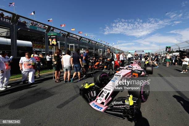 Sergio Perez of Mexico driving the Sahara Force India F1 Team VJM10 on the grid during the Australian Formula One Grand Prix at Albert Park on March...