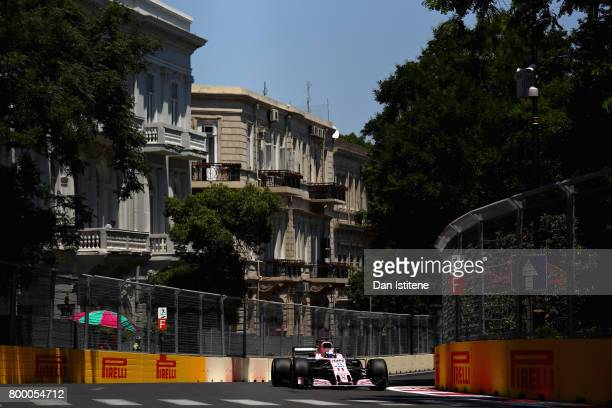 Sergio Perez of Mexico driving the Sahara Force India F1 Team VJM10 on track during practice for the European Formula One Grand Prix at Baku City...
