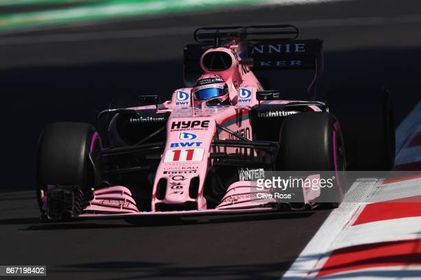 Sergio Perez of Mexico driving the Sahara Force India F1 Team VJM10 on track during practice for the Formula One Grand Prix of Mexico at Autodromo...