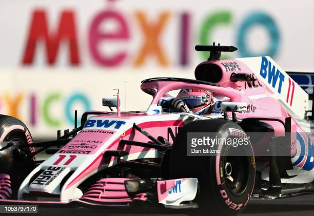 Sergio Perez of Mexico driving the Sahara Force India F1 Team VJM11 Mercedes on track during practice for the Formula One Grand Prix of Mexico at...