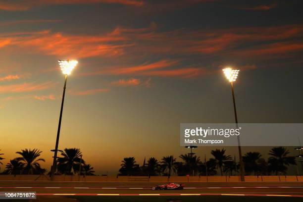 Sergio Perez of Mexico driving the Sahara Force India F1 Team VJM11 Mercedes on track during qualifying for the Abu Dhabi Formula One Grand Prix at...