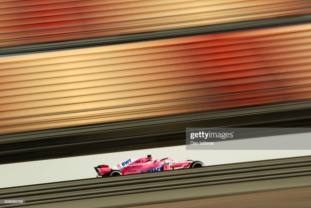 Sergio Perez of Mexico driving the (11) Sahara Force India F1 Team VJM11 Mercedes on track during day one of F1 Winter Testing at Circuit de Catalunya on March 6, 2018 in Montmelo, Spain.