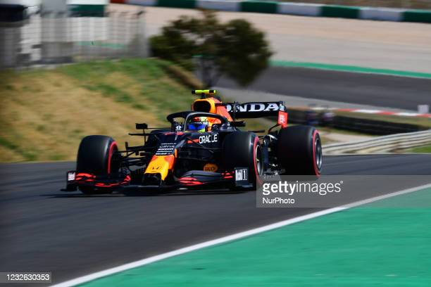 Sergio Perez of Red Bull Racing Honda drive his RB16B single-seater during qualifying session of Portuguese GP, third round of Formula 1 World...