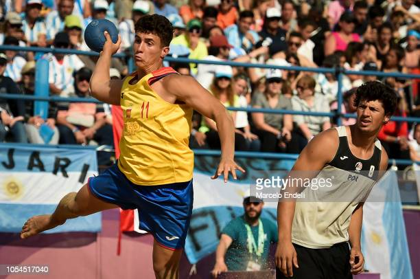 Sergio Perez of Spain shoots on target n the Men Gold Medal Match against Portugal during day 7 of Buenos Aires 2018 Youth Olympic Games at Green...