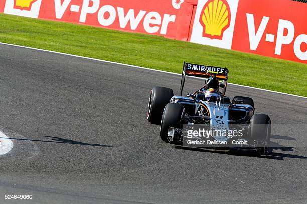 Sergio Perez of the Sahara Force India F1 Team during the 2015 Formula 1 Shell Belgian Grand Prix free practise 1 at Circuit de Spa-Francorchamps in...