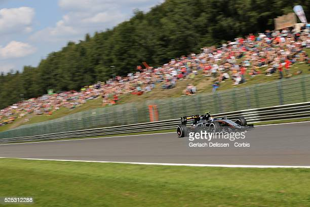 Sergio Perez of the Sahara Force India F1 Team during the 2015 Formula 1 Shell Belgian Grand Prix free practice 2 at Circuit de Spa-Francorchamps in...