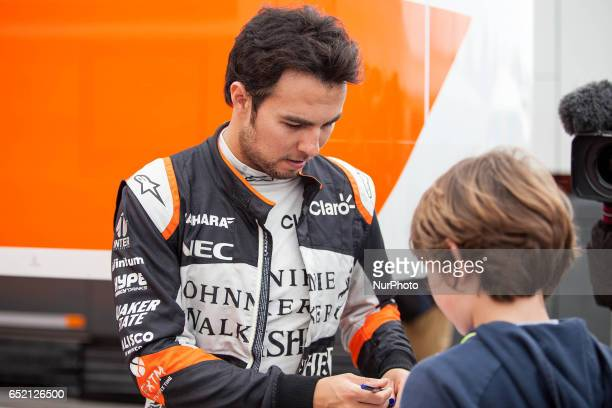 Sergio Perez Sahara Force India VJM10 in action during the Formula One winter testing at Circuit de Catalunya on March 10 2017 in Montmelo Spain