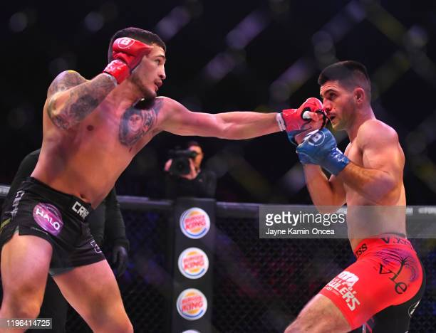Sergio Pettis and Alfred Khashakyan exchange blows during their bantamweight fight at The Forum on January 25, 2020 in Inglewood, California. Pettis...