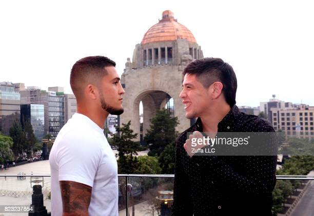 Sergio Pettis and Brandon Moreno face off for the media during an onsale press tour on June 7 2017 in Mexico City Mexico