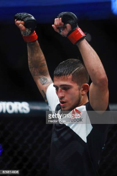 Sergio Pettis celebrates his victory against Brandon Moreno during the UFC Fight Night Mexico City at Arena Ciudad de Mexico on August 05, 2017 in...