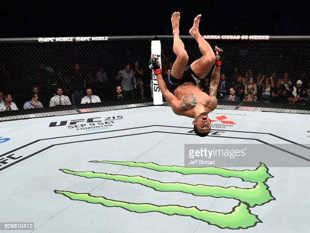 Sergio Pettis does a backflip in the Octagon after facing Brandon Moreno of Mexico in their flyweight bout during the UFC Fight Night event at Arena...