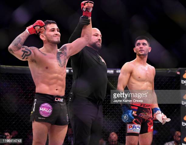 Sergio Pettis in the cage after defeating Alfred Khashakyan in their bantamweight fight at The Forum on January 25, 2020 in Inglewood, California....