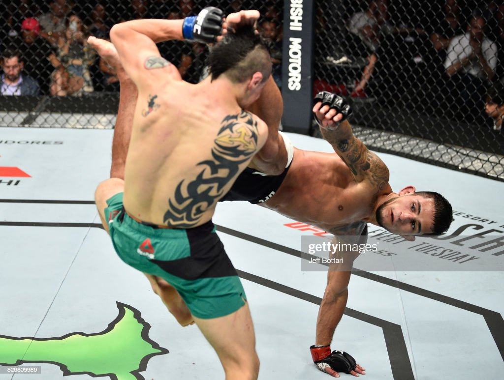 Sergio Pettis kicks Brandon Moreno of Mexico in their flyweight bout during the UFC Fight Night event at Arena Ciudad de Mexico on August 5, 2017 in Mexico City, Mexico.