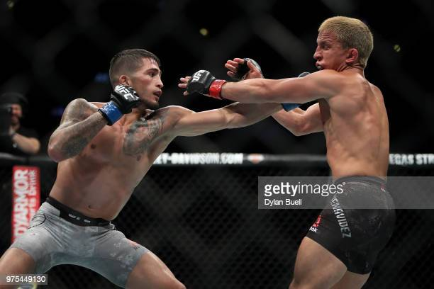 Sergio Pettis lands a punch on Joseph Benavidez in the second round in their flyweight bout during the UFC 225 Whittaker v Romero 2 event at the...