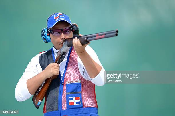 Sergio Pinero of Dominican Republic competes during the Men's Trap Shooting qualifying on Day 10 of the London 2012 Olympic Game at the Royal...