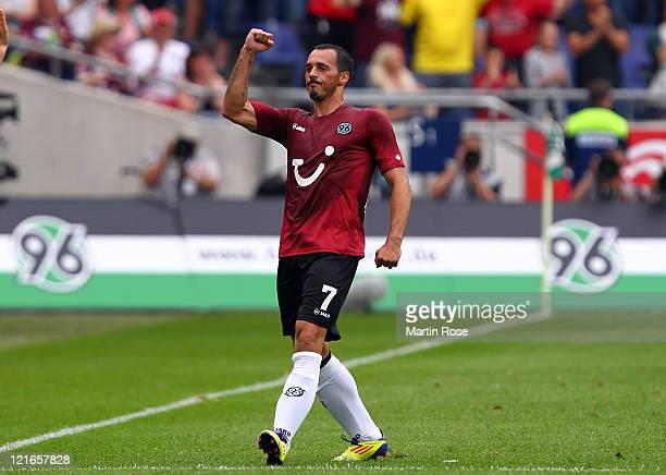 Sergio Pinto of Hannover celebrates after he scores his team's opening goal during the Bundesliga match between Hannover 96 and Hertha BSC Berlin at...