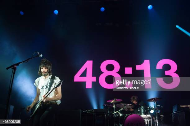 Sergio Pizzorno and Ian Matthews of Kasabian perform on stage at Alhambra Theatre on May 22 2014 in Dunfermline United Kingdom