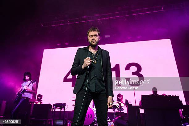 Sergio Pizzorno and Tom Meighan of Kasabian perform on stage at Alhambra Theatre on May 22 2014 in Dunfermline United Kingdom