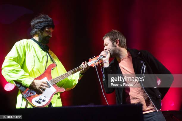 Sergio Pizzorno and Tom Meighan of Kasabian perform on stage at Princes Street Gardens during Edinburgh Summer Sessions on August 18 2018 in...