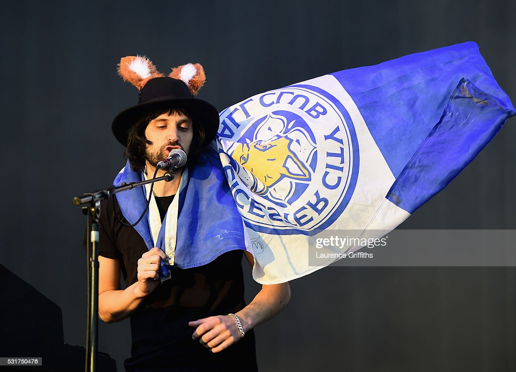Sergio Pizzorno of Kasabian performs during the Leicester City Barclays Premier League winners bus parade on May 16, 2016 in Leicester, England.