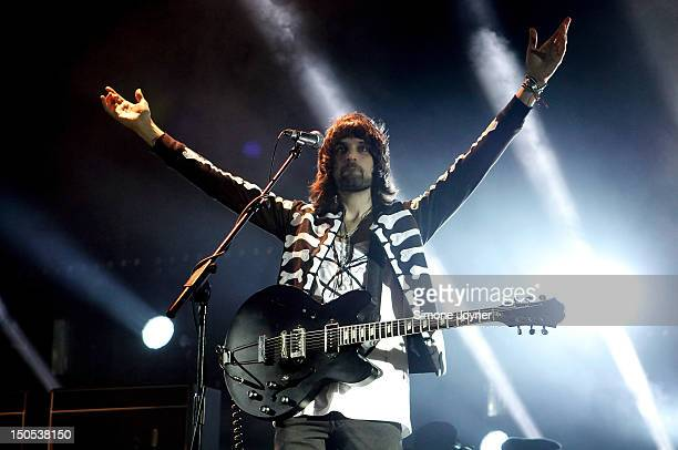 Sergio Pizzorno of Kasabian performs live on stage at Brixton Academy on August 20 2012 in London United Kingdom