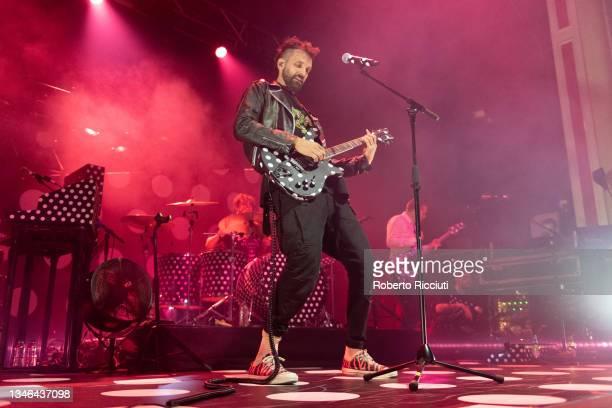 Sergio Pizzorno of Kasabian performs on stage at O2 Academy Glasgow on October 13, 2021 in Glasgow, Scotland.