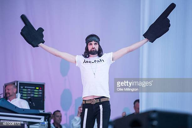 Sergio Pizzorno of Kasabian performs on stage during a special one off hometown show the week their fifth album 4813 entered the UK sales charts at...