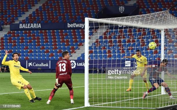 Sergio Postigo of Levante UD scores an own goal, Villarreal CF's first goal during the La Liga Santander match between Levante UD and Villarreal CF...