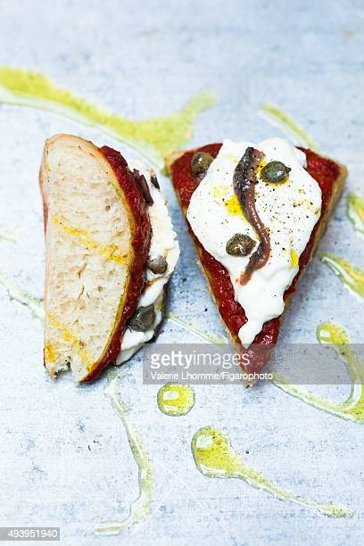 Sergio Preziosa's steam Pizza with tomato and burrata is photographed for Madame Figaro on July 1 2015 in Paris France PUBLISHED IMAGE CREDIT MUST...