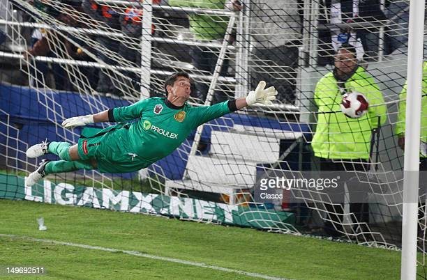 Sergio Ramirez goalkeer of Leones Negros reacts during a match between Pachuca and Leones Negros as part of the Copa MX 2012 at Hidalgo Stadium on...