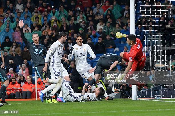 Sergio Ramos #4 of Real Madrid and Alvaro Morata #21 of Real Madrid and Varane #5 of Real Madrid during the La Liga match between Real Madrid and...