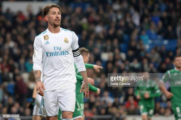 Sergio Ramos #4 of Real Madrid during the Copa del Rey Quarter Final Second Leg match between Real Madrid v Leganes at Santiago Bernabeu on January...