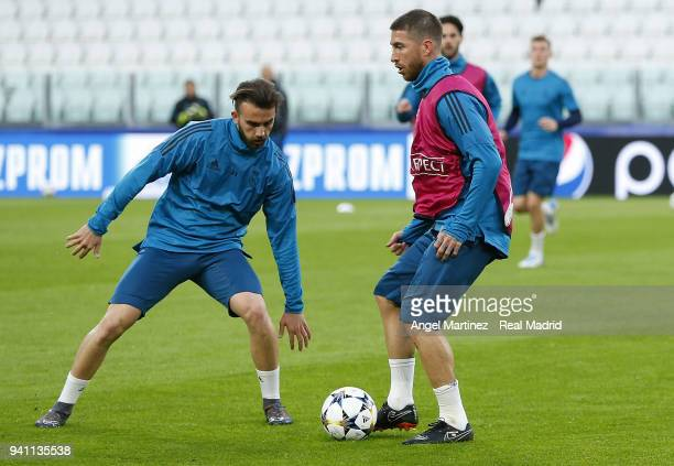 Sergio Ramos and Borja Mayoral of Real Madrid in action during a training session at Juventus Stadium on April 2 2018 in Turin Italy