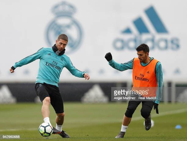 Sergio Ramos and Dani Ceballos of Real Madrid in action during a training session at Valdebebas training ground on April 7 2018 in Madrid Spain