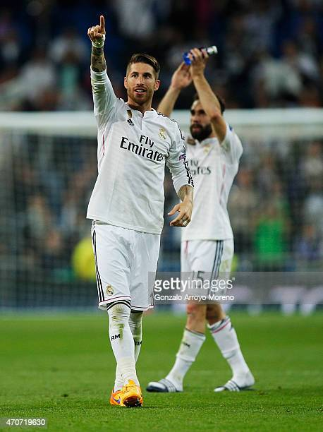 Sergio Ramos and Daniel Carvajal of Real Madrid CF celebrate victory after the UEFA Champions League quarterfinal second leg match between Real...