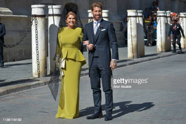 Sergio Ramos and his mother Paqui Ramos attend the wedding of real Madrid football player Sergio Ramos and Tv presenter Pilar Rubio at Seville's...