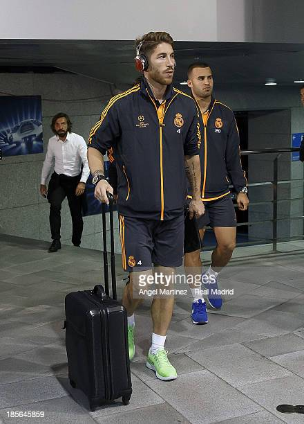 Sergio Ramos and Jese Rodriguez of Real Madrid arrive at the stadium before the UEFA Champions League Group B match between Real Madrid and Juventus...
