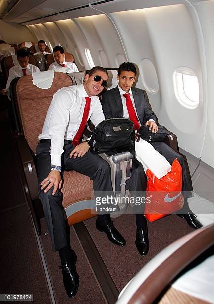 Sergio Ramos and Jesus Navas of Spain look on shortly after touch down at Johannesburg airport on June 11, 2010 in Johannesburg, South Africa.