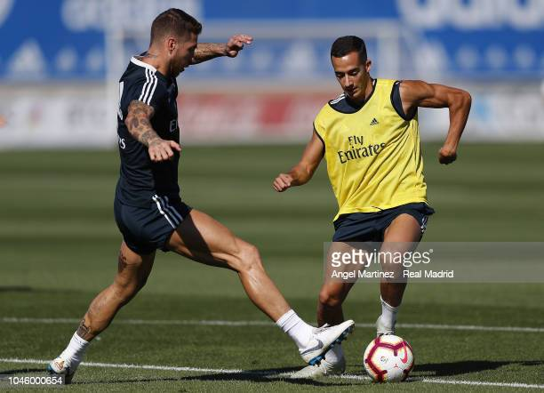 Sergio Ramos and Lucas Vazquez of Real Madrid in action during a training session at Valdebebas training ground on October 5 2018 in Madrid Spain
