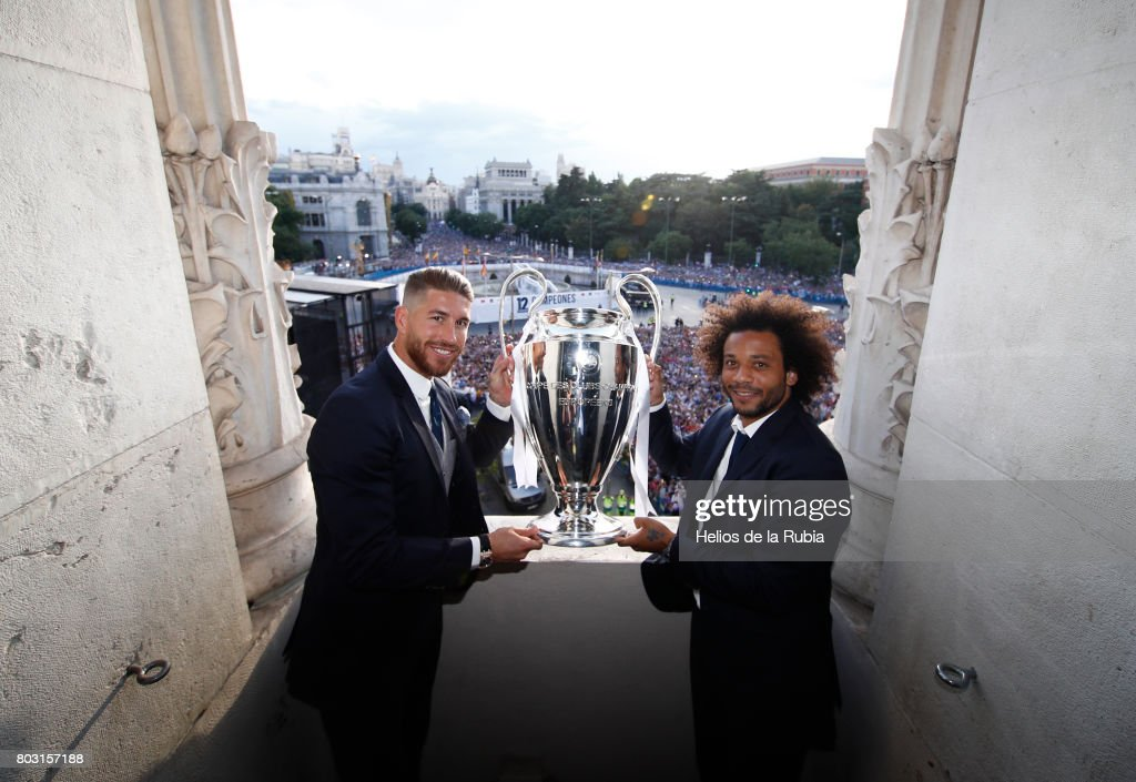 Sergio Ramos (L) and Marcelo of Real Madrid celebrate their UEFA Champions League victory at Cibeles square on June 4, 2017 in Madrid, Spain.