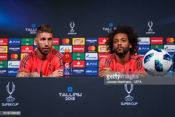 Sergio Ramos and Marcelo speak to the media during Real Madrid press conference at A le Coq Arena ahead of the UEFA Super Cup on August 14 2018 in...