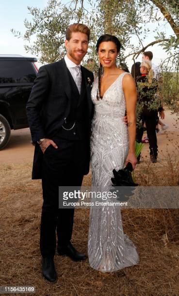 Sergio Ramos and Pilar Rubio attend the wedding of Real Madrid football player Sergio Ramos and Tv presenter Pilar Rubio at Seville's Cathedral on...