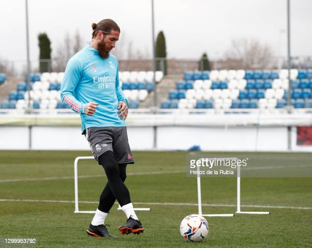 Sergio Ramos at Valdebebas training ground for a Real Madrid training session on February 02, 2021 in Madrid, Spain.