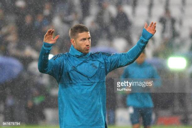 Sergio Ramos before the first leg of the quarter finals of the UEFA Champions League 2017/18 between Juventus FC and Real Madrid CF at Allianz...